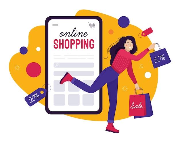 Zakupy i sprzedaż online. szczęśliwa kobieta wyskakuje ze smartfona z zakupami.