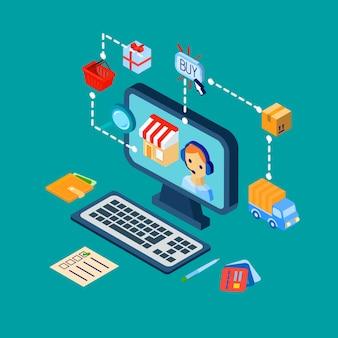 Zakupy ikony e-commerce ustawione izometrycznie