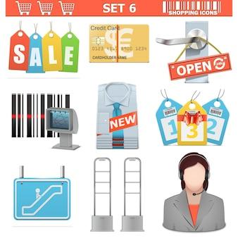 Zakupy ikony zestaw 6 na białym tle