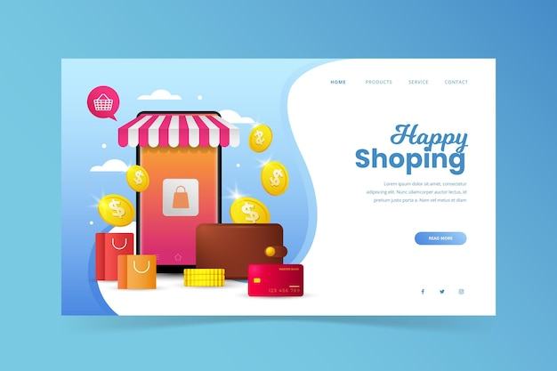 Zakupy internetowa strona docelowa z ilustracjami