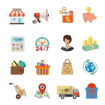 Zakupy internetowe i dostawy zestaw ikon płaski