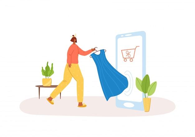 Zakupy internetowe. kobieta kupuje sukienkę na telefon, ilustracja koncepcja e-sklepu