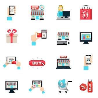 Zakupy internetowe płaski zestaw ikon