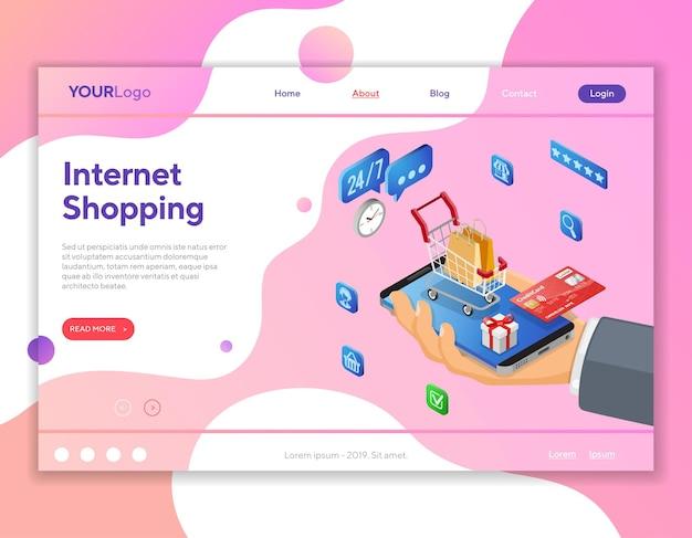 Zakupy internetowe za pomocą ręcznego smartfona i koszyka