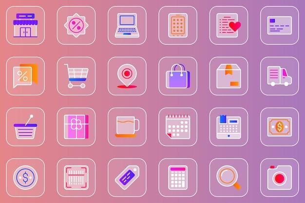 Zakupy internetowe zestaw ikon glassmorphic