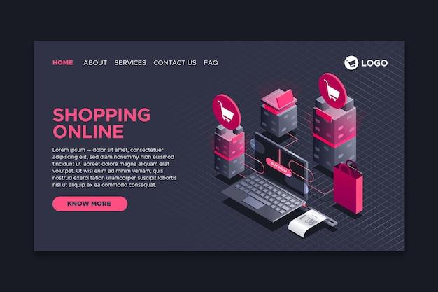 Zakupy izometryczny styl strony docelowej online