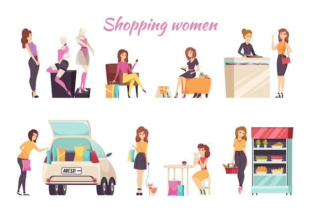 Zakupy kobiet karty tekst z zestawem kobiet