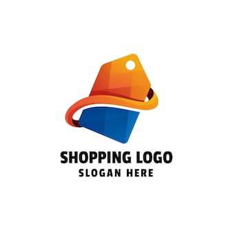 Zakupy kolorowe gradient logo szablon