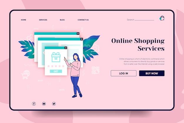 Zakupy koncepcja strony docelowej online
