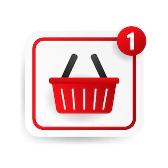 Zakupy koszyka przycisk web na białym tle