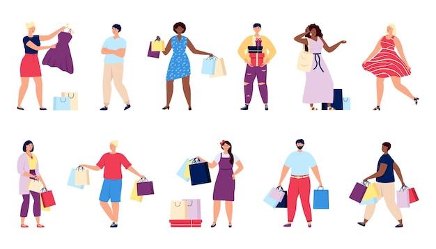 Zakupy ludzi. kupuj człowiek, osoba trzymaj pudełka i torby na prezenty. konsument detaliczny, kupujący z zakupem. kupujący w sklepie lub supermarkecie wypowiada wektor zestaw na białym tle