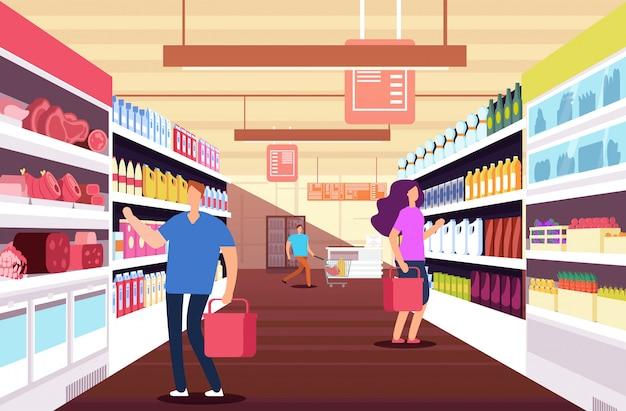 Zakupy ludzi w hipermarkecie. klienci między półkami produktów spożywczych. koncepcja sprzedaży detalicznej i ze zniżkami wektor