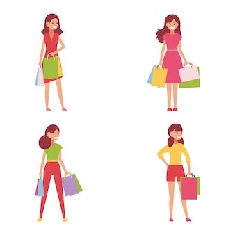 Zakupy, ludzie z torbami ze sklepu.