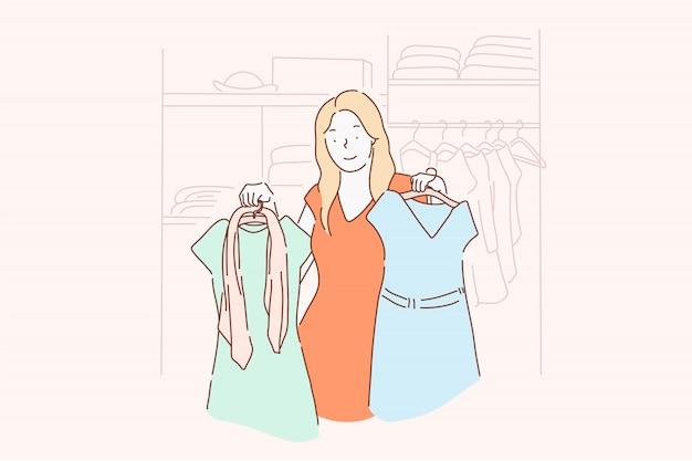 Zakupy, moda, sukienka, koncepcja ubrania.
