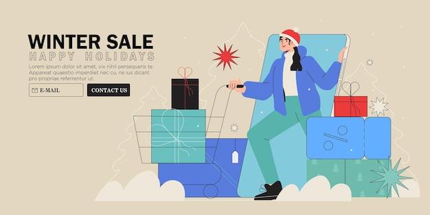 Zakupy noworoczne lub świąteczne kobieta kup prezent w sklepie internetowym lub sklepie z aplikacją mobilną
