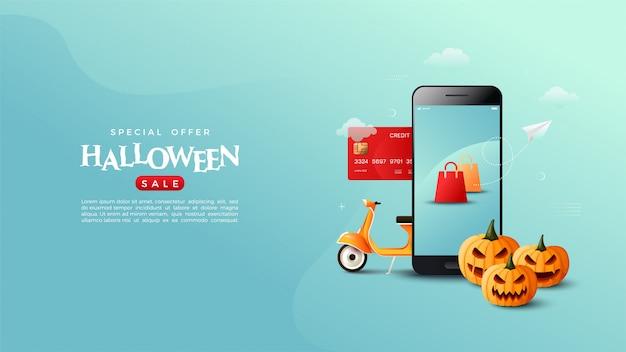 Zakupy online banner halloween, z ilustracjami kart kredytowych, telefonów komórkowych, dyń i motocykli.