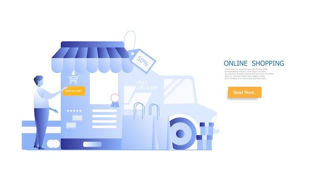 Zakupy online, człowiek zakupy na smartfonie
