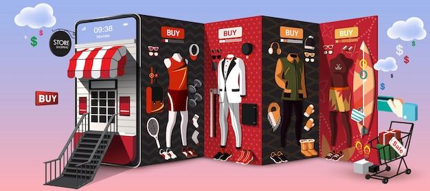 Zakupy online dla mężczyzn na koncepcji telefonu komórkowego