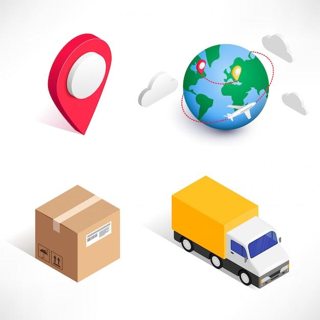 Zakupy online dostawy 3d izometryczny zestaw ikon na białym tle. ilustracja marketingu cyfrowego. można używać do sieci, aplikacji, infografik