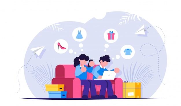 Zakupy online. dziewczyna i facet siedzą na kanapie z laptopem i telefonem w rękach