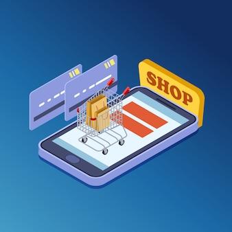 Zakupy online, e-commerce izometryczny wektor ilustracja koncepcja