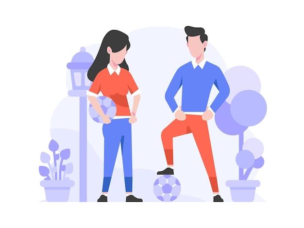 Zakupy online e-commerce kategoria sportowa ludzie grają w piłkę nożną koncepcja płaska konstrukcja styl ilustracja