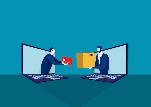 Zakupy online i dostawa na laptopie notbook concept. sprzedaż elektroniczna, zakupy online, ilustracja.