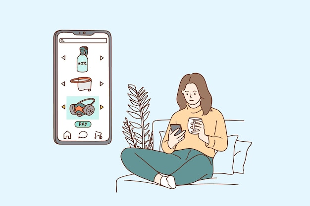 Zakupy online i ilustracja koncepcja e-commerce