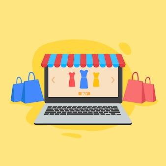 Zakupy online i ilustracji sklepu na stronie internetowej
