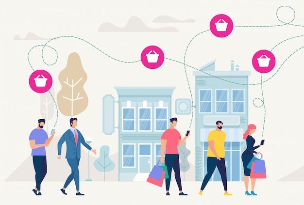 Zakupy online i sieć. ilustracja wektorowa.