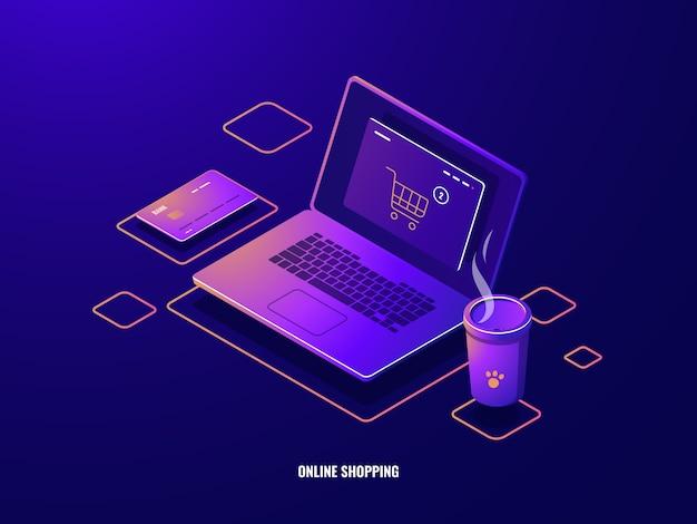 Zakupy online ikona izometryczny zakup internetowy, laptop z koszem sklepowym na ekranie, płatność online