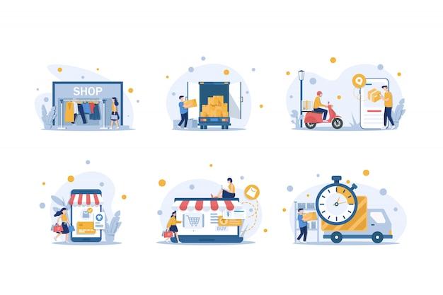 Zakupy online ilustracja i dostawa płaska