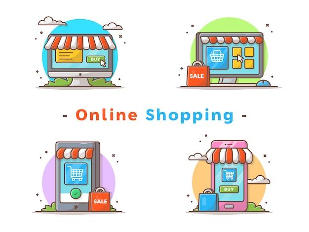 Zakupy online ilustracji wektorowych