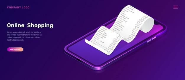 Zakupy online, izometryczna koncepcja aplikacji mobilnej