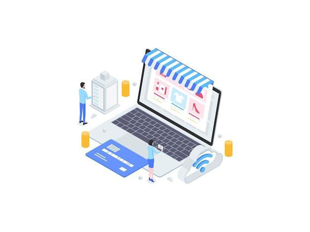 Zakupy online izometryczny płaski ilustracja. nadaje się do aplikacji mobilnych, stron internetowych, banerów, diagramów, infografik i innych zasobów graficznych.