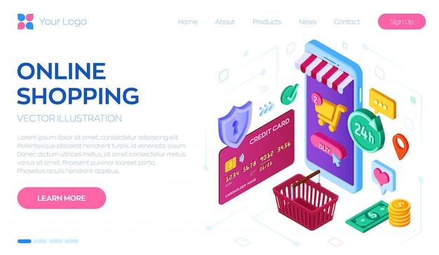 Zakupy online. izometryczny sklep internetowy. zakupy online w witrynie lub aplikacji mobilnej.