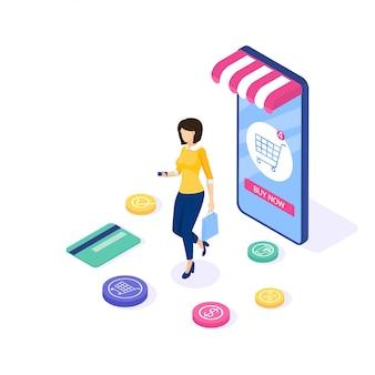 Zakupy online . kobieta kupuje rzeczy na stronie. może korzystać z banerów internetowych i infografik. izometryczny ilustracja.