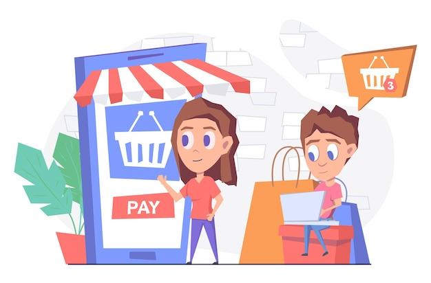 Zakupy online kobieta kupuje towary online za pomocą smartfona mężczyzna z laptopem siedzi na pudełku