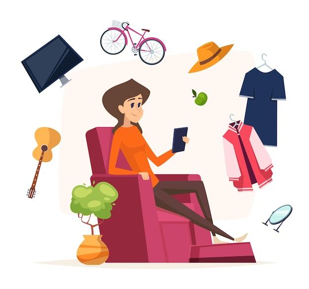 Zakupy online. kobieta z smartphone kupuje różne rzeczy.