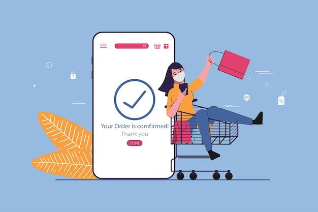 Zakupy online koncepcja sklepu z klientem w wózku barrow.