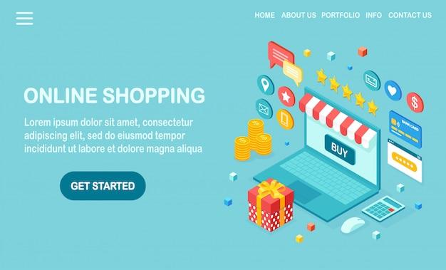 Zakupy online, koncepcja sprzedaży. kup w sklepie detalicznym przez internet. izometryczny komputer 3d, laptop z pieniędzmi, karta kredytowa, recenzja klienta, opinia, pudełko upominkowe, niespodzianka. projekt banera internetowego