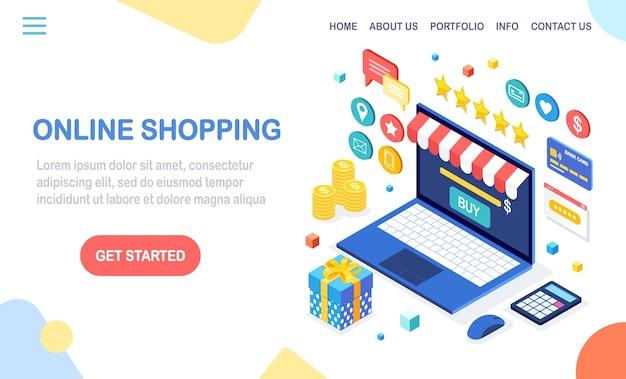 Zakupy online, koncepcja sprzedaży. kup w sklepie detalicznym przez internet. komputer izometryczny, laptop z pieniędzmi, karta kredytowa, recenzja klienta, opinia, pudełko upominkowe, niespodzianka. na baner internetowy