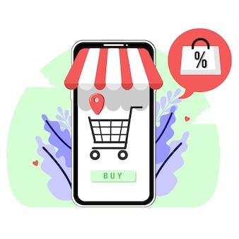 Zakupy online kup ilustracja płaska