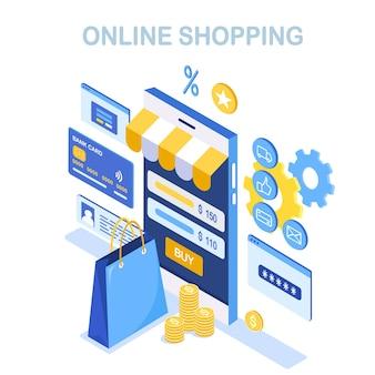 Zakupy online. kup w sklepie detalicznym przez internet. wyprzedaż z rabatem. izometryczny smartfon z torbą