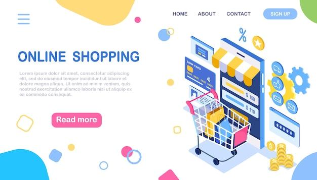 Zakupy online. kup w sklepie detalicznym przez internet. wyprzedaż z rabatem. izometryczny smartfon z wózkiem