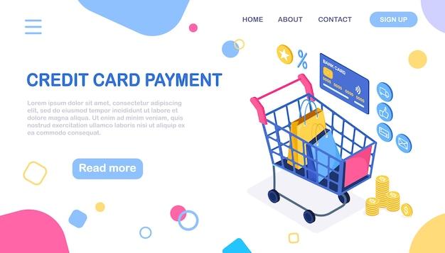 Zakupy online. kup w sklepie detalicznym przez internet. wyprzedaż z rabatem. wózek izometryczny, wózek z pieniędzmi