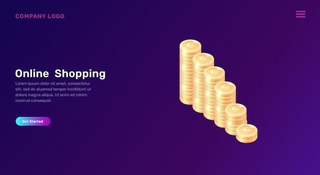 Zakupy online lub bankowość, koncepcja izometryczna