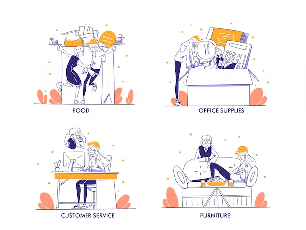 Zakupy online lub koncepcja e-commerce w nowoczesnym stylu ręcznie rysowane. jedzenie, napoje, jedzenie, artykuły biurowe, artykuły papiernicze, obsługa klienta, meble, styl życia, sklep, ilustracja kategorii