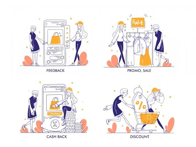 Zakupy online lub koncepcja e-commerce w nowoczesnym stylu ręcznie rysowane. opinie, oceny, recenzja, promocja, wyprzedaż, rabat, sklep cashback, koszyk, ilustracja sklepu