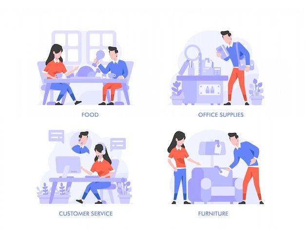 Zakupy online lub koncepcja e-commerce w stylu płaskiej konstrukcji. jedzenie, napoje, jedzenie, artykuły biurowe, artykuły papiernicze, obsługa klienta, meble, styl życia, sklep, ilustracja kategorii